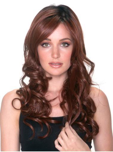 La flexibilité Longue Bouclé Cheveux Synthétique Avec Frange Perruques Lace Front