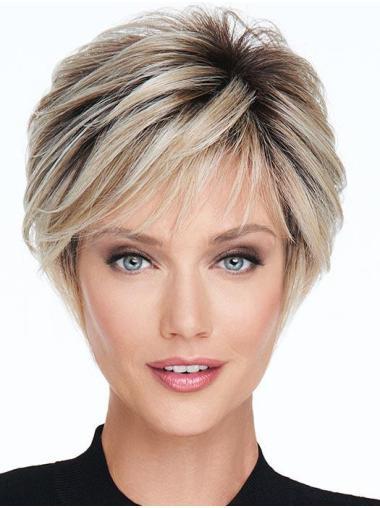 Lisse Courte Blonde Monofilament Haut Perruques Synthétiques