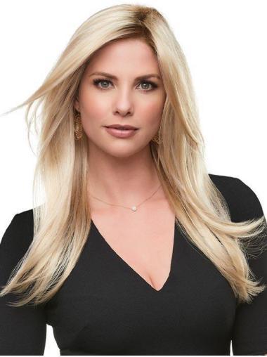 Cheveux Synthétique Sans Frange Blonde Lisse Branché Perruques 100% Fait à la Main