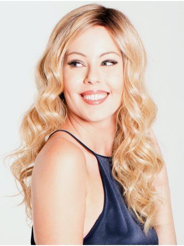 Ondulé Longue Blonde Monofilament Le moins cher Perruques Synthétiques