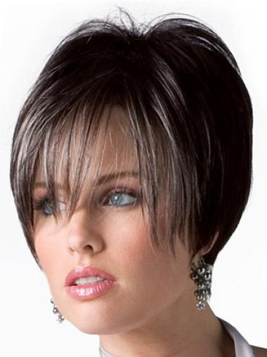 """Perruques Cheveux Humaines 6"""" Durable Brune"""
