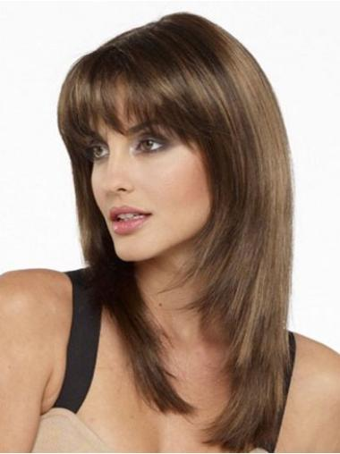 "Perruques Cheveux Humaines 16"" Belle Brune"