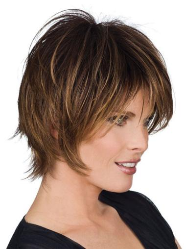 "Perruques Cheveux Humaines 8"" Soyeuse Brune"