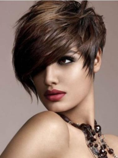 """Perruques Cheveux Humaines 6"""" Flexible Brune"""
