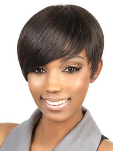 Perruques Afro-Americaines Commode Brune Courte Asymétrique Lisse