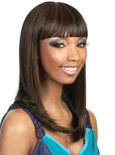 Perruques Afro-Americaines Durable Brune Longue Lisse