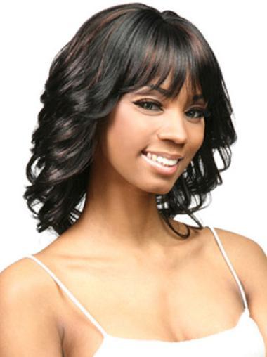 Perruques Afro-Americaines Confortable Noir Longueur d'Epaules Frisée