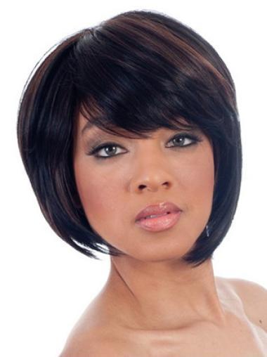 Perruques Afro-Americaines Branchée Noir Longueur de Menton Lisse