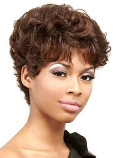 Perruques Afro-Americaines Nouvelle Auburn Courte Asymétrique Frisée