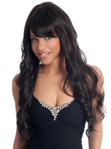 Perruques Afro-Americaines Merveilleuse Noir Longue Ondulé