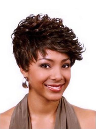 Perruques Afro-Americaines Haute Qualité Auburn Courte Asymétrique Frisée