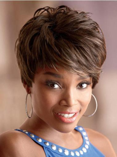 Perruques Afro-Americaines Pas Cher Brune Courte Asymétrique Ondulé