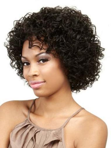 Perruques Afro-Americaines Appropriée Noir Longueur de Menton Frisée
