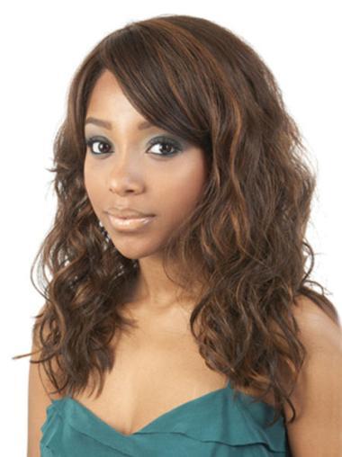 Perruques Afro-Americaines Naturelle Brune Longue Ondulé