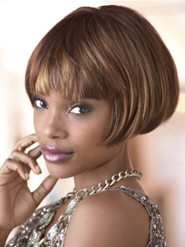 """Perruques Afro-Americaines Confortable Brune 4"""" Lisse"""