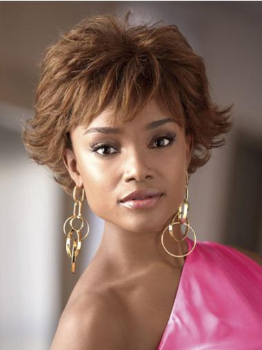 "Perruques Afro-Americaines Branchée Brune 4"" Ondulé"