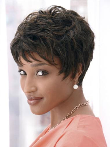 """Perruques Afro-Americaines Haute Qualité Noir 4"""" Ondulé"""