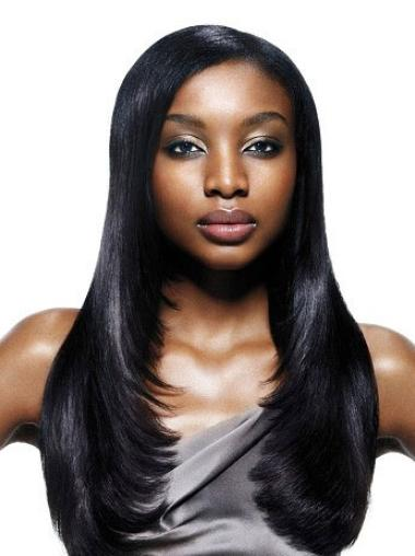 """Perruques Afro-Americaines Idéale Noir 22"""" Lisse"""