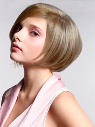 Perruques Bob Pas Cher Blonde Longueur de Menton Lisse