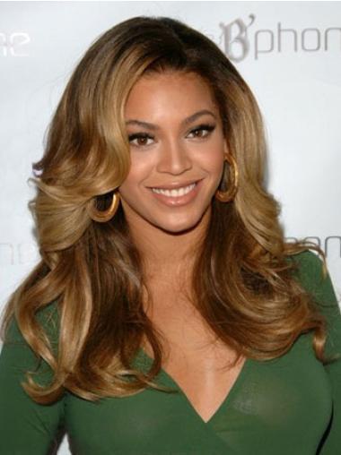 Perruques Beyoncé à la mode Brune Longue Ondulé