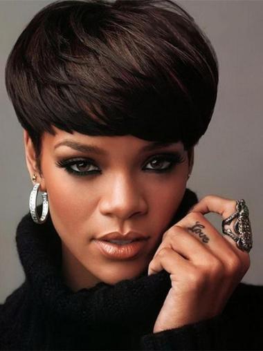 """Perruques Rihanna 6"""" Nouvelle Noir"""