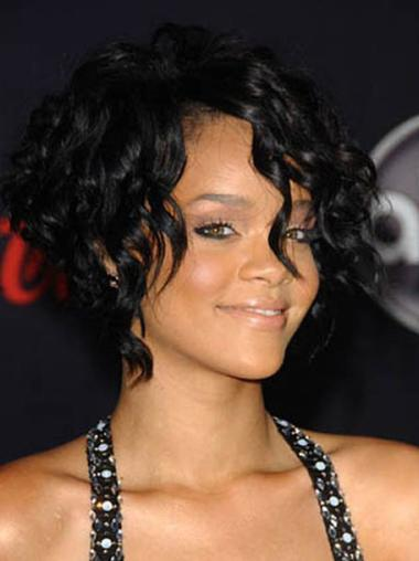 "Perruques Rihanna 8"" Branchée Noir"