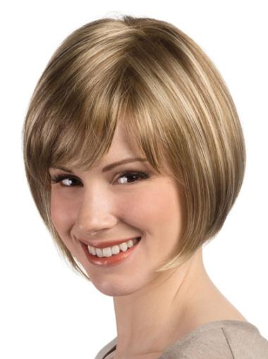 "Perruques Bob Propre Blonde 8"" Lisse"