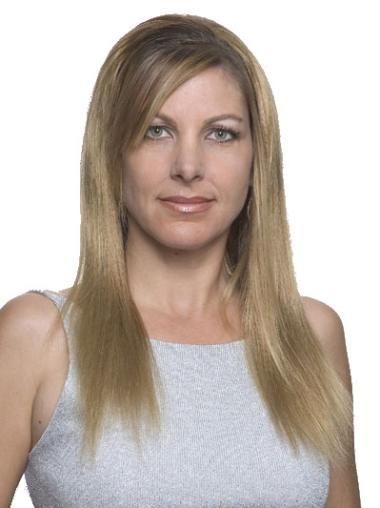 """Perruques 100% Fait à la Main Idéale Blonde 16"""" Lisse"""