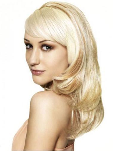 3/4 Perruques Blonde Ondulé Flexible