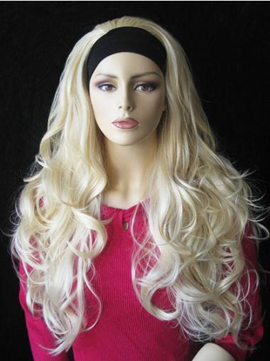 3/4 Perruques En Vogue Blonde Ondulé