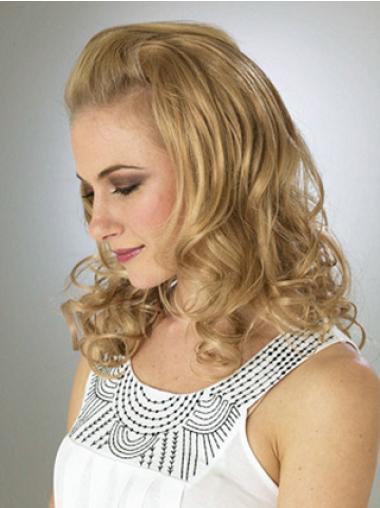 3/4 Perruques Populaire Blonde Ondulé