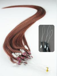 Cercle Micro Extensions de Cheveux Cheveux Humains Auburn Lisse