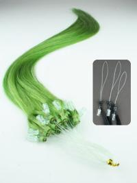 Cercle Micro Extensions de Cheveux Cheveux Humains Noir Lisse