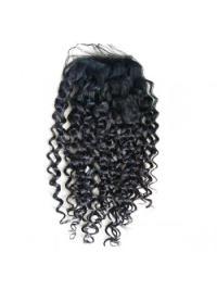 Fermeture de Lace Cheveux Humains Noir Frisée
