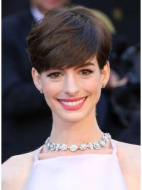 Perruques Anne Hathaway Exquise Brune Courte Asymétrique Lisse
