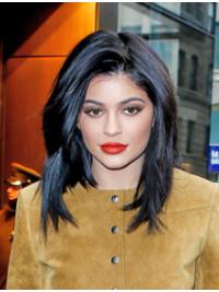 """Perruques Kylie Jenner Noire Lisse Longueur d'Epaule 12"""""""
