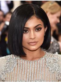 """Perruques Kylie Jenner Noire Lisse Longueur de Menton 11"""""""