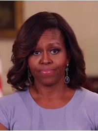 """Perruques Michelle Obama Ondulé Longueur d'Epaule Brune 14"""""""