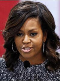 """Perruques Michelle Obama Ondulé Longueur d'Epaule Ombré 14"""""""