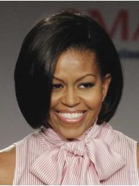 """Perruques Michelle Obama Lisse Longueur de Menton Noire 10"""""""